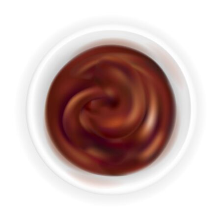 Realistic barbecue sauce in a round bowl isolated on white background. Dark brown grill condiment in 3d style. Top view, realism. Vector design illustration of ketchup Illusztráció