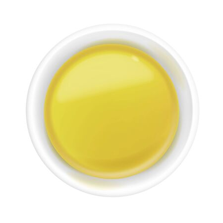 Realistic 3d olive or sunflower oil in a round sauce bowl. Yellow liquid honey isolated on white background. Organic vegetarian dressing in ramekin. Top view, realism. Vector food design illustration in flat lay