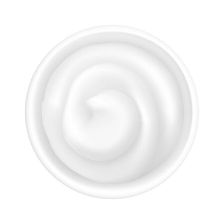Realistic 3d mayonnaise or sour cream in a round bowl. Creamy sauce, yoghurt isolated on white background. Yogurt dressing in ramekin. Top view, realism. Vector design illustration in flat lay style