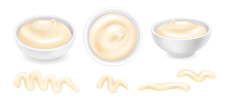 Realistic 3d mayonnaise or sour cream in a round bowl set. Creamy sauce, yoghurt drops isolated on white background. Yogurt dressing in ramekin. Side top view, realism. Vector design illustration Stock Vector - 133301984