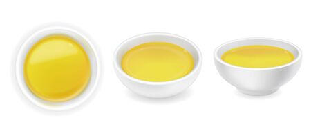 Realistic 3d olive or sunflower oil in a round sauce bowl set. Yellow liquid honey isolated on white background. Organic vegetarian dressing in ramekin. Side top view, realism. Vector food design illustration