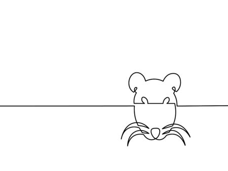 One continuous line drawing - rat. Vector chinese new year illustration isolated on white background.