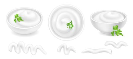 Realistic 3d mayonnaise or sour cream in a round bowl set. Creamy sauce, yoghurt drops isolated on white background. Yogurt dressing in ramekin. Top view, realism. Vector design illustration in flat lay style