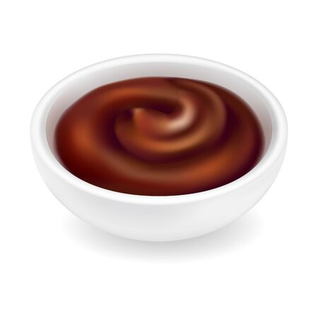 Realistic barbecue sauce in a round bowl isolated on white background. Dark brown grill condiment in 3d style. Side view, realism. Vector design illustration of ketchup for bbq