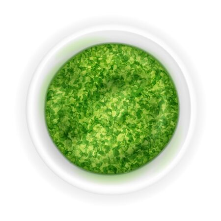 Realistic pesto sauce in a round bowl isolated on a white background. Green condiment in 3d style. Top view, realism. Vector design illustration Illustration