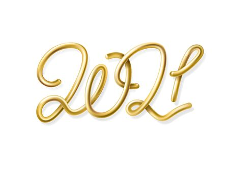 3d realistic inscription 2021. Vector New year illustration on a white background. Golden balloon numbers