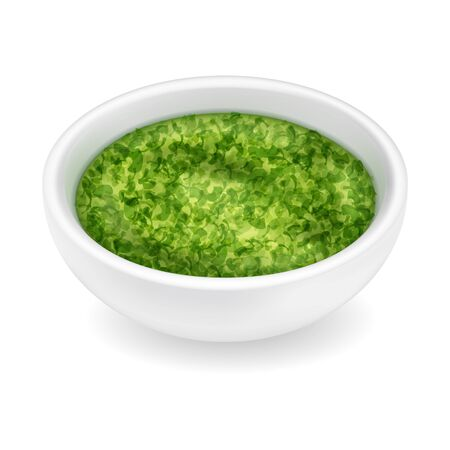Realistic pesto sauce in a round bowl isolated on a white background. Green condiment in 3d style. Side view, realism. Vector design illustration Illustration