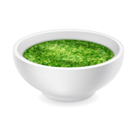 Realistic pesto sauce in a round bowl isolated on a white background. Green condiment in 3d style. Side view, realism. Vector design illustration Ilustração