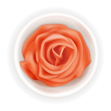 Realistic 3d pickled ginger rose in a round bowl. Pink sushi condiment isolated on white background. Asian spice, top view. Sliced ginger root. Vector design illustration