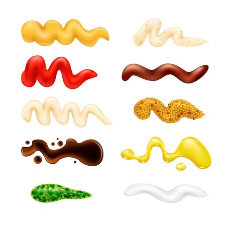 Set of different sauce drops. Various ketchup mustard stains in 3d realistic style. Top view. Textured pesto tartar blobs isolated on white background. Oil, mayonnaise and sour cream vector illustration.