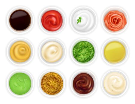 Many different sauces in round bowls set. Various ketchup mustard condiment in 3d realistic style. Top view. Textured pesto tartar spices isolated on white background. Oil, mayonnaise and sour cream vector illustration. Ilustração