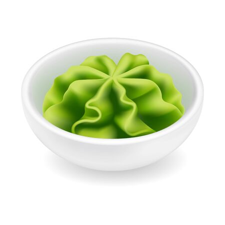 Wasabi sauce in a bowl. Realistic vector icon isolated on white background. Japanese sushi condiment in round ceramic ramekin. 3d side view asian spice illustration