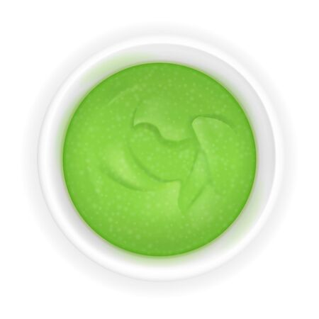 Wasabi sauce in a bowl. Realistic icon isolated on white background. Japanese sushi condiment in round ceramic ramekin. 3d top view asian spice illustration Ilustração