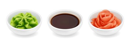 Wasabi soy sauce and ginger in a bowl. Realistic vector icon set isolated on white background. Japanese sushi condiment in round ceramic ramekin. 3d side view asian spice illustration