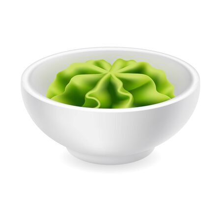 Wasabi sauce in a bowl. Realistic Japanese sushi condiment in round ceramic ramekin. Vector icon isolated on white background. 3d side view asian spice illustration Ilustração