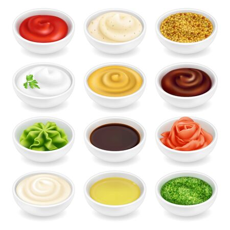 Many different sauces in round bowls set. Various ketchup mustard condiment in 3d realistic style. Side view collection. Textured pesto tartar spices isolated on white background. Oil, mayonnaise and sour cream vector illustration.