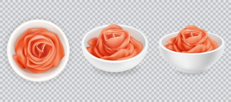 Realistic 3d pickled ginger rose set. Pink sushi condiment isolated on white background. Asian spice, top and side view. Sliced ginger root. Vector design illustration