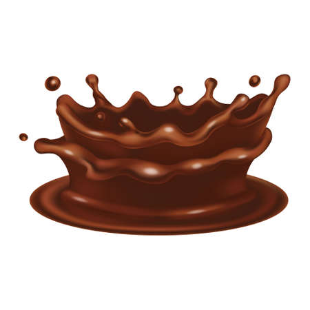 Chocolate crown splash. Realistic 3d vector brown flow icon. Liquid dripping design isolated on white background. Side view