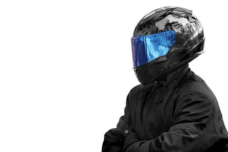 Motorcyclist in a helmet on a white background. Biker Banque d'images