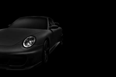 Luxury car. Black car on a black background. Imagens