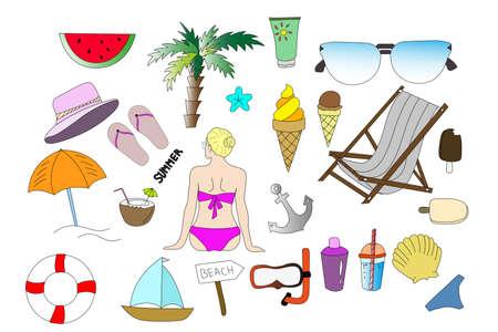 Thematic sketch. Summer sketch. Vector. Glasses, girl, ball, umbrella, palm, watermelon, hat, sea, summer Stock Illustratie