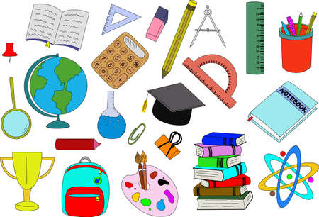 Back to school. School. School supplies. For study. Thematic selection. Sketch. Vector