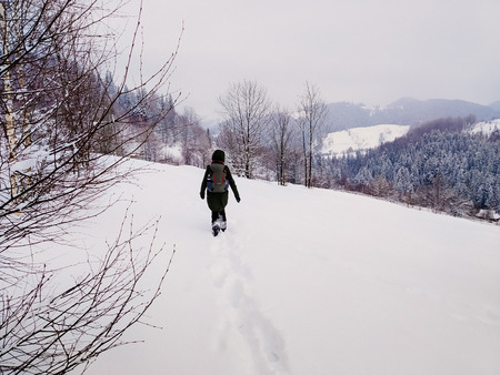 Back view Young adult woman walking alone in snowy mountains. Hiking and travel concept. Peaceful countryside atmosphere on a winter day. Enjoying fresh air