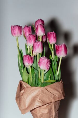 Beautiful pink flowers. Lifestyle photo of peony tulips in craft paper package on white background. Harsh shadows from the flash light. Holiday, gift concept 스톡 콘텐츠