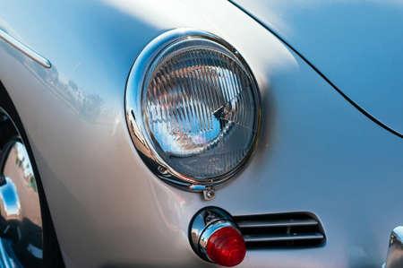 Monte-Carlo, Monaco, - September 09, 2018: close up retro car Porsche cabriolet 356. Luxury chrome details, headlight