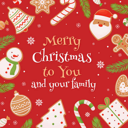 Christmas card template with hand drawn decorative elements on a red background.
