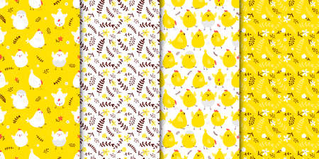 Set of seamless spring patterns with cute cartoon chickens and flowers.