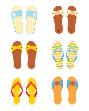 Leather and silicone summer slippers vector set. Women s beach slippers and flip flops in flat style isolated on white background.