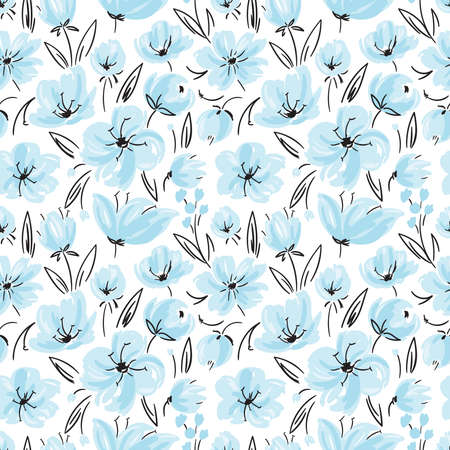 Vector seamless pattern with tender blue flowers in hand-drawn style.