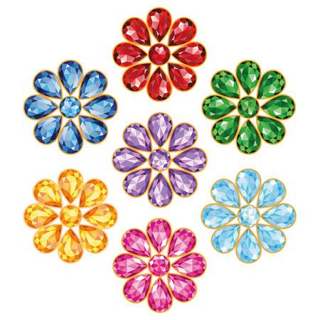 Motif de sept fleurs, composées de pierres précieuses de différentes couleurs - bleu saphir, rouge rubis, vert émeraude, améthyste pourpre, topaze jaune, orange, diamants bleus et roses mi fleur - pierre ronde, pétales en forme de gouttes Banque d'images - 26621733