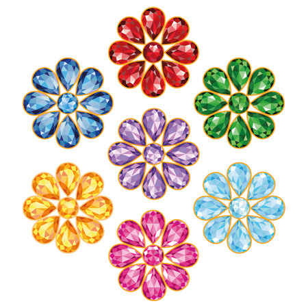 emerald stone: Pattern of seven flowers, composed of precious stones of different colors - blue  sapphire , red  ruby , green  emerald , purple  amethyst , yellow  topaz, amber , blue and pink  diamonds   Mid flower - round stone, petals in the form of drops