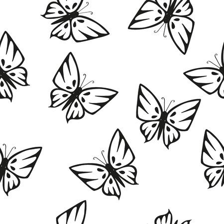 seamless texture: Schmetterling Schwarz-Wei�-Silhouetten auf wei�em Hintergrund Nahtlose Textur Illustration