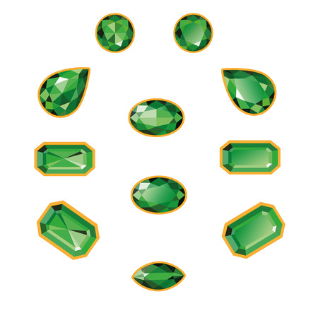 Emeralds set different cut - round, drop, pear, oval, octagon and race  Green shiny three-dimensional jewelry on a white background Vector