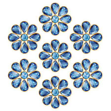 Pattern of seven blue flowers composed of sapphire gemstones  Mid flower
