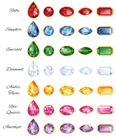 Seven different sets of cut gems - ruby, sapphire, emerald, diamond, amber, rose quartz and amethyst on a white