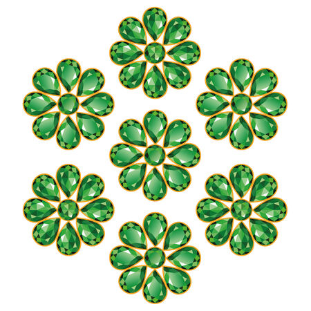 Pattern of seven greens composed of gemstones emeralds  Mid flower  Vector
