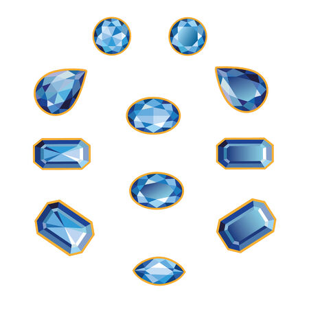 sapphires: Blue sapphires different cut - round, drop, pear, oval, octagon and race  Brilliant three-dimensional jewelry on a white background  More - in my portfolio