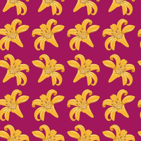 Pattern of tiger lilies on a burgundy background  Seamless texture  Textile Vector