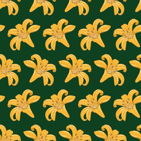 seamless texture: Muster der Tiger Lilien auf einem dunkelgr�nen Hintergrund Nahtlose Textur Textil Illustration