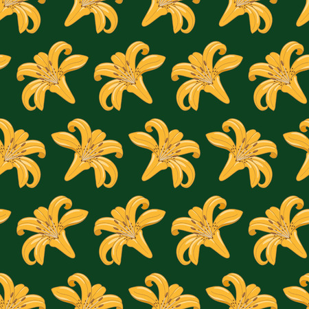 Pattern of tiger lilies on a dark green background  Seamless texture  Textile Vector