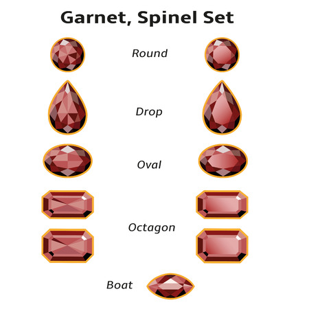 spinel: Garnet, Spinel Set different cut - round, drop, oval, boat and octagon  Brilliant three-dimensional jewelry on a white background  Isolated Objects  All gems signed font Amble  free font, taken here www fontsquirrel com