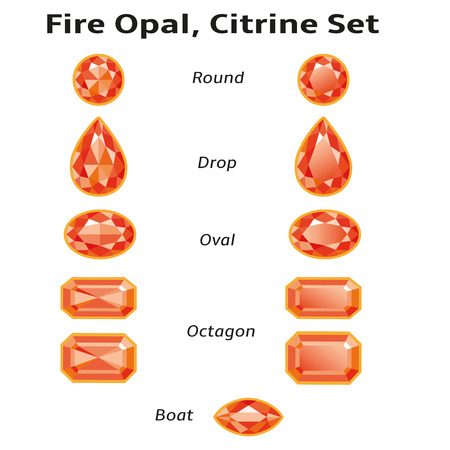 opal: Fire opals, citrines set different cut - round, drop, oval, boat and octagon  Brilliant three-dimensional jewelry on a white background  Isolated Objects  All gems signed font Amble  free font, taken here www fontsquirrel com  Illustration