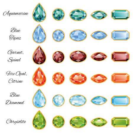 Sets of different cut gemstones - aquamarine, blue topaz, garnet, spinel, fire opal, citrine, blue diamond and chrysolite on a white background  All jewelry signed font Alex Brush  free font, taken here www fontsquirrel com