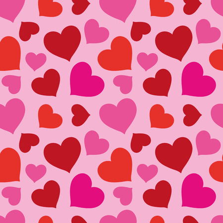 Smart festive pattern of red and pink hearts on a pink background  Seamless texture  Fabrics, textile, tablecloth Vector
