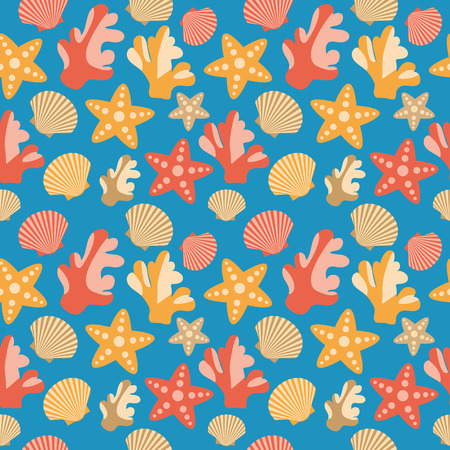 Pattern of scallops shells, starfish and corals on a blue background  Seamless texture Vector