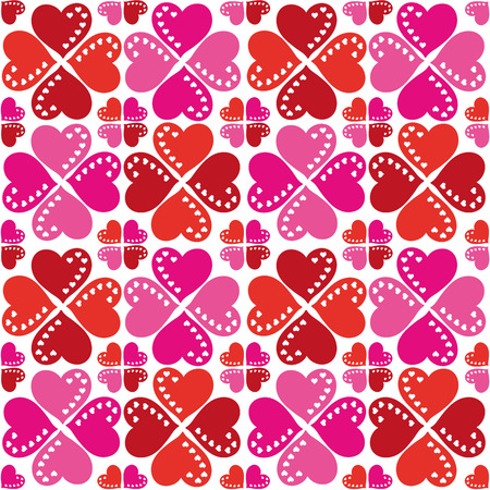 Smart festive pattern of red and pink hearts on a white background  Seamless texture  Fabrics, textile, tablecloth Vector